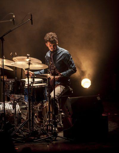 """Photographie événementielle. Belgian Jazz Meeting 2017. Batteur du groupe """"Lorenzo di Maio"""""""