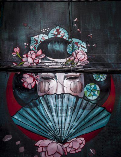 Graffiti dans une rue de Hanoi, Vietnam. Photo de voyage.