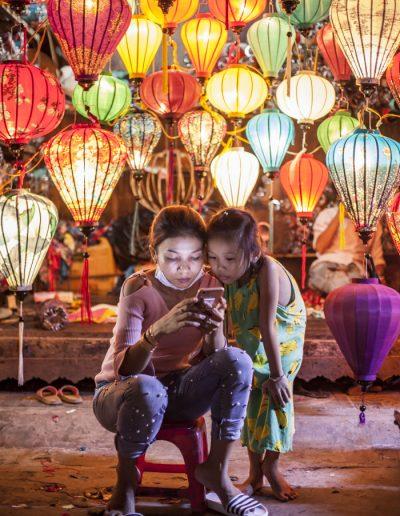Photographie de voyage. Lanternes dans le village de Hoi An. Vietnam.