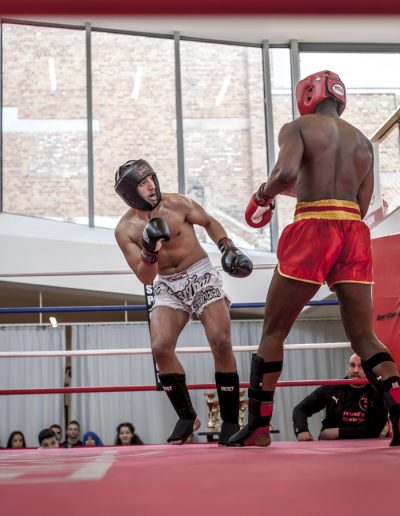 Kickboxing fight at the gym Emergence XL. Brussels, Belgium. April 2016